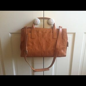Leather Bag with handles and cross strap
